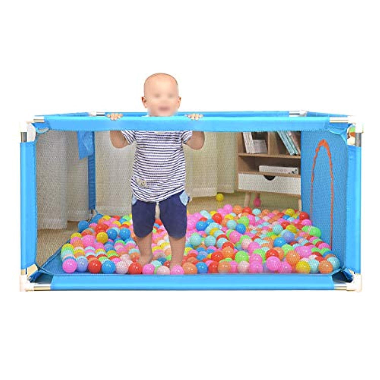 青い遊び場とボールの反ロールオーバー赤ちゃんの安全な練習場4つのパネル屋外の屋内の子供の遊びゲームの柵 (サイズ さいず : 100×100×68cm)