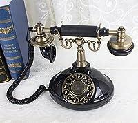固定電話 有線電話レトロスタイルのオフィス有線電話/携帯電話/古典的なレトロ電話の土地の家有線ボタンダイヤル