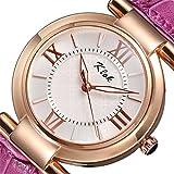 (オンラインで購入しやすいです) BUYEONLINE レディーズレザー防水ルミナスカジュアル腕時計 パープル
