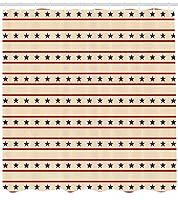 原始的なカントリーシャワーカーテン、水平方向の境界愛国心が強い星ノスタルジックなアメリカデザインパターン、フック付き布生地バスルーム装飾セット、、クリームネイビー 180X180 CM