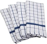 DII 100% Cotton, Machine Washable, Ultra Absorbant, Basic Everyday 16 x 26 Terry Kitchen Dish Towel, Set of 4- Blue Window P