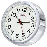 NUOVO 置き時計 ミニ時計 シルバー 車用 小型 クオーツ時計 アナログ表示