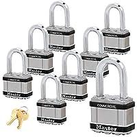 Master Lock マグナム南京錠 幅2インチ x 長さ1-1/2インチ シャックル 同一鍵 #M5NKALFSTS バンプストップ技術付き 8 Pack M5NKALFSTS
