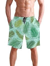 VAWA 水着 メンズ サーフパンツ おしゃれ ビーチパンツ 海水パンツ 短パン 吸汗速乾 大きいサイズ 水陸両用 葉柄 熱帯風