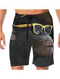 メンズ水着 ビーチショーツ ショートパンツ クール眼鏡猿 スイムショーツ サーフトランクス 速乾 水陸両用 調節可能