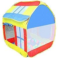 子供用プレイテント イエロー ピンク ポリエステル生地 プレイハウス 男の子 女の子 3歳 屋内 屋外 サンルーフ シンプル toy-087669-us