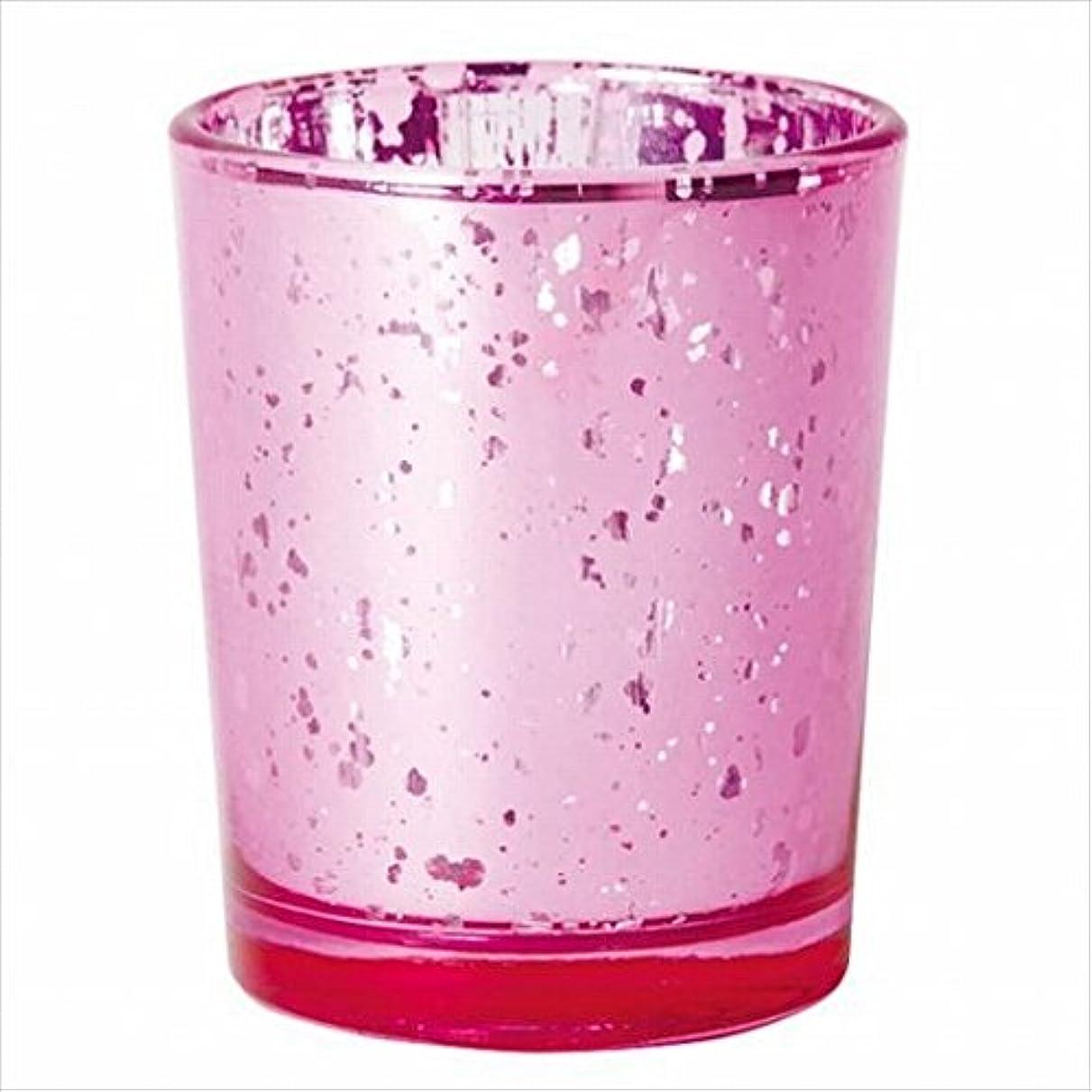 とティームメトリック合わせてカメヤマキャンドル(kameyama candle) ヴィンテージグラス 「 ピンク 」 キャンドルホルダー
