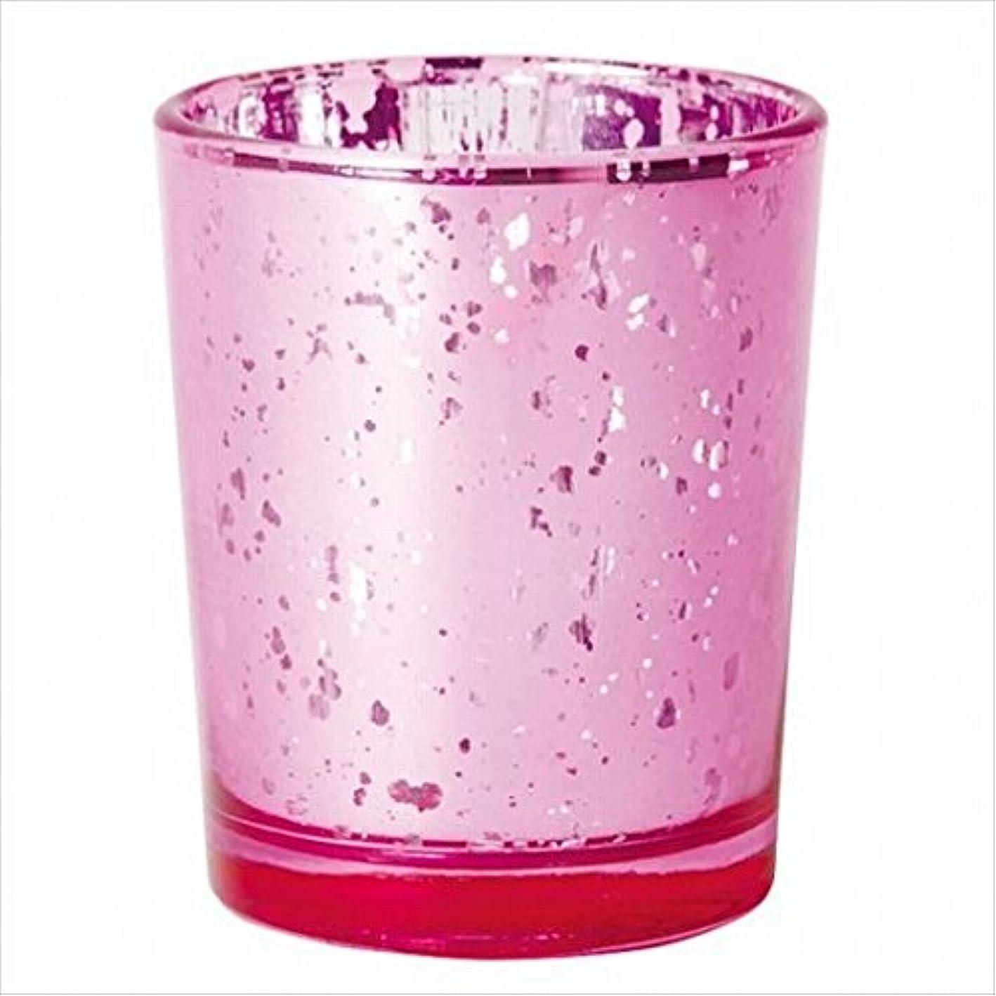 ヒント小説家第カメヤマキャンドル(kameyama candle) ヴィンテージグラス 「 ピンク 」 キャンドルホルダー