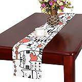 GGSXD テーブルランナー 親しい 赤い猫 クロス 食卓カバー 麻綿製 欧米 おしゃれ 16 Inch X 72 Inch (40cm X 182cm) キッチン ダイニング ホーム デコレーション モダン リビング 洗える