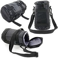 DURAGADGETブラック保護耐水性カメラレンズCarry Bag for Fujifilm xf16–55mm f2. 8R LM WR / xf50–140mmf2.8R LM OIS WR–With Detachable肩ストラップ