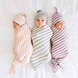 LOVE MEI Baby Swaddle Blanket Newborn Wrap Muslin Unisex Sleeping Cloth with Hat Breathable Cotton and Bamboo Fiber Stripe Pattern Pack of 3
