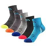5足5色セット 靴下 メンズ スポーツスニーカーインソックス ショート丈通気吸汗 トレッキング登山用 24.5-27.5cm