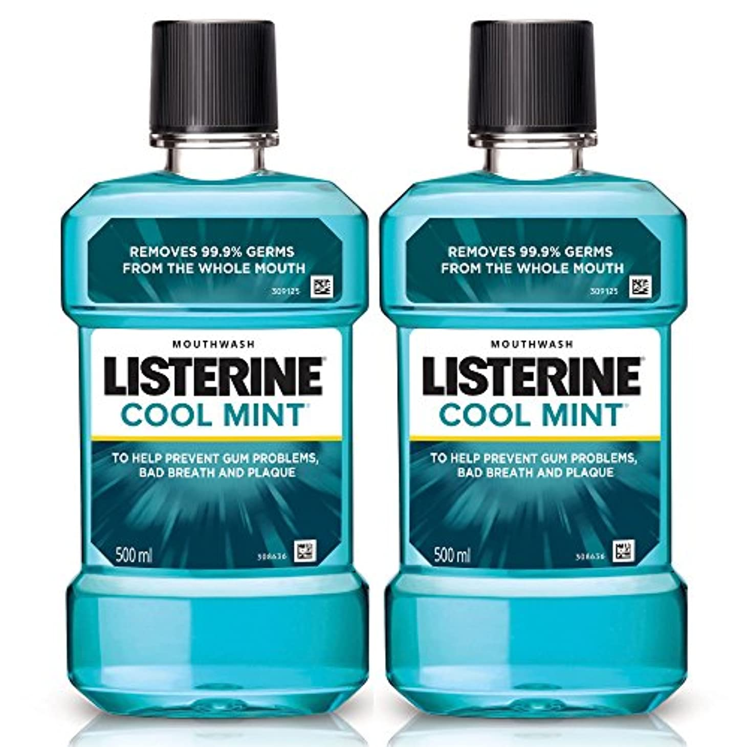ビット酔う地理Listerine Cool Mint Mouthwash 500ml (Pack of 2)