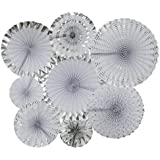 LOCCA Party Decorations White Silver Hanging Paper Fans for Home Decor Easter Fiesta Baby Shower Bridal Shower Birthday Wedding Party Supplies [並行輸入品]