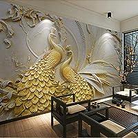 Yosot 大きなサイズの部屋のベッドルームゴールドのエンボス加工されている孔雀プリントウォールペーパーホームの壁の装飾のカスタムサイズ -250 cmx 175 cm の生活のために写真の壁画壁紙