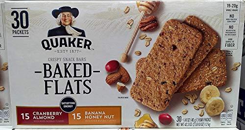 Quaker Baked Flats Cranberry Almond and Banana Honey Nuts クエーカーベイクドフラッツクランベリーアーモンドとバナナハニーナッツバー40gx30 小パック [並行輸入品]