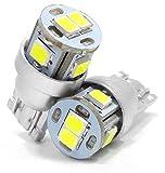 T10 (W5W) LED ホワイト 2個セット ポジション ナンバー灯 ルームランプ バニティランプ カーテシランプ 白 2835SMD6連 DC12V 無極性 ウェッジシングル球 LT10-6S2835W illumicraft(イルミクラフト)