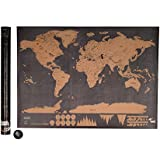 Kicode Poster Art Map Deluxe Scratch Travel Log World Map Glow Home Decoration Decor Gift 32x23 inch