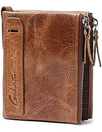 Meibang財布 二つ折り ファスナー付 本革 メンズ レディース兼用大容量 カード小銭 お札入れ 多機能