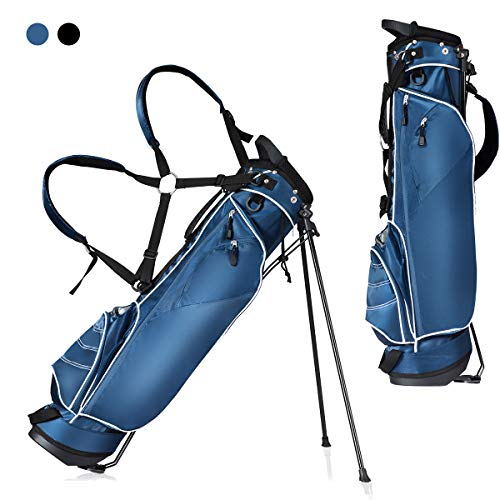 Costway Blue Golf Stand Bag Club w/4 Way Divider Cart Bag Travel Bag Light Weight Executive Course