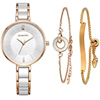 MAMONA Women's Watch & Bracelet Gift Set Ladies Stainless Steel/Ceramic Watch Rose Gold L3887RGGT