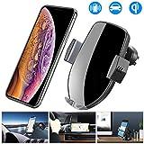 車載Qi ワイヤレス充電器 車載 ホルダー-10W/7.5W急速ワイヤレス充電器車載スマホホルダー 360度回転 粘着式&吹き出し口2種類取り付 iPhone X/XR/XS/XSMAX/8/8 Plus/Galaxy S9/S8/S8 Plus/S7/S7 Edge/S6/S6 Edge/Note 8/Note 5/Nexus 5/6等に適用ワイヤレス充電機種に対応…