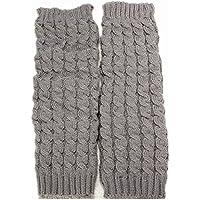 PIXNOR Pair Of Knee High Crochet Leg Warmers Socks Light Grey