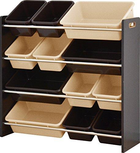 ottostyle.jp TOY BOX (トイボックス) おかたづけ収納ラック スタンダードタイプ (4段タイプ) 【ダークブラウン×ベージュ&ブラウンボックス】 おもちゃ箱/おもちゃ収納ボックス