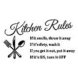Zhaozheウォールステッカー kitchen rules英語の諺 壁のステッカー 背景装飾 キッチン用 防水でき リムーバブル