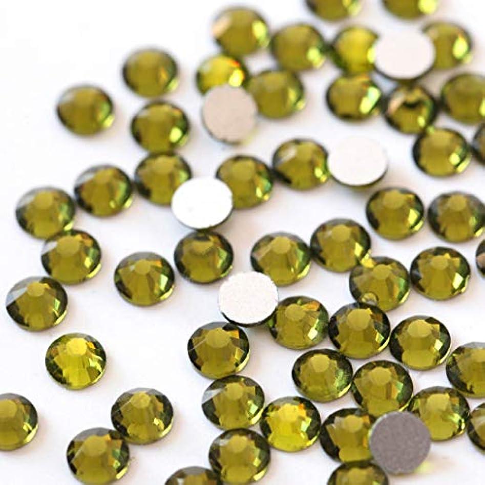 いたずらな高尚なびっくりする【ラインストーン77】高品質ガラス製ラインストーン オリーブ(3.0mm (SS12) 約200粒)