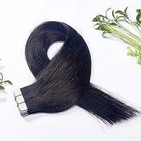 FidgetGear Remyの人間の毛髪延長7A 40cmの継ぎ目が無いPUの皮のよこ糸の方法16インチテープ #01漆黒