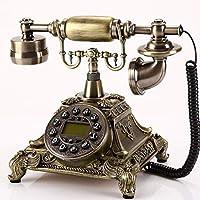 ビンテージアンティークスタイルロータリーダイヤル電話、ビンテージクラシック有線電話固定家庭用およびオフィス用装飾、25 * 21 * 23 cm、さまざまな色とスタイルで利用可能 (三 : Green patina-a)