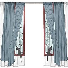 VAWA レースカーテン おしゃれ 遮光 かわいい 猫柄 可愛い ネコ 窓柄 カーテンレース 断熱 UVカット 薄い ミラーレースカーテン 幅140×丈213cm 2枚組