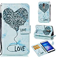 Huawei Honor 6X Card Holder Case, Huawei Honor 6X Wallet Case Slim, Huawei Honor 6X Folio Leather case cover Shockproof Case with Credit Card Slot, Durable Protective Case for Huawei Honor 6X (Blue)
