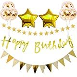誕生日 飾り付け バルーン HAPPY BIRTHDAY ガーランド スター 装飾 風船 セット コンフェッティ バルーン パーティー 誕生日 記念日 風船(ゴールド)J026