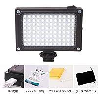 Ulanzi 96 LEDビデオライト充電式 ポケットミニ撮影ライト DSLRビデオカメラ用 BP-4Lバッテリー とマグネットフィルター付き