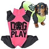 犬猫の服 full of vigor ドッグプレイ(R)Fプリントラッシュガード ダックス用 カラー 6 ピンク サイズ DLラッシュガード オールインワン フルオブビガー