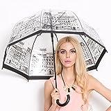 Chiasa 透明な傘 長傘 ジャンプ傘 おしゃれ ドーム型 高強度グラスファイバー採用 梅雨対策 バブルアンブレラ 女用の傘 頑丈な8本骨 かわいい (英国風)