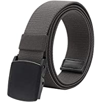 """Elastic Belt for Men, Stretch Canvas Belt with YKK Plastic Buckle, Breathable Waist Belt for Work Outdoor Cycling Hiking, Adjustable for Pants Size Below 46inches[53""""Long1.5""""Wide]"""