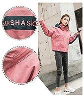 レディースジャケット 温かく取り外し可能なフード、フロントポケットの文字が2つ刺繍された長袖の婦人服,Pink,S