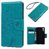 Sony Xperia XZケース 手帳型 ウォレット カード収納 横開き 横置きスタンド ストラップ エンボス ブルー