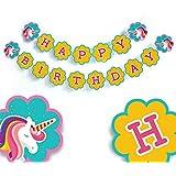 Unicorn Party Supplies - Happy Birthday Banner - party decorations - Unicorn party Decorations - baby girl birthday banner - unicorn banner - yellow pennant banner [並行輸入品]