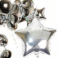 アルミ風船 星型 バルーン 誕生日 飾る パーティー ウエディング 5枚セット 43CM (星型, シルバー)