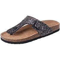 PinupArt Women's Sequined PU Leather Cork Summer Beach Flip Flop Slipper