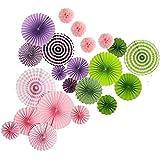 Hophen18個 吊るす 装飾 折りたたみ 紙ファンの花 そして 4個 組織 紙 ポンポムスキット   ウェディングフェスティバルパーティーデコレーション (紫の   緑 ピンク)
