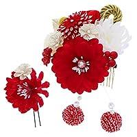 つまみ細工、お花 髪飾り2点セット「赤色 お花と剣つまみのお花、絞り玉」 フラワーコーム