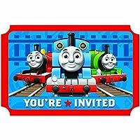 "Amscan Thomas The Tank Engine Birthday Party Die-Cut Postcard Invitations, Blue/Red, 3 7/8"" x 5 5/8"" [並行輸入品]"