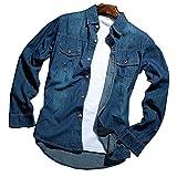 (ドンルルオイン) Dunluluoyin メンズ ベーシック デニムシャツ/きれいめカジュアル 長袖シャツ Dark blue L