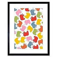 Colourful Pattern Cartoon Elephants Kids Child Bedroom Framed Wall Art Print カラフルパターン漫画象子供たちベッドルーム壁