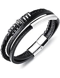 JIAYIQI Fashion Stainless Steel Braided Leather Bracelet for Men Cuff Bracelet